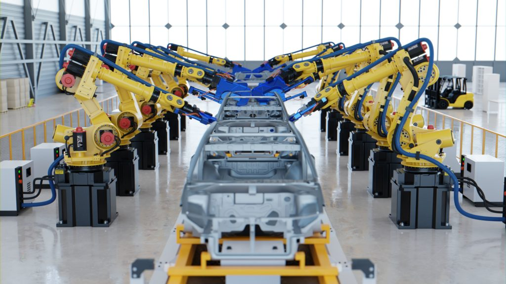 Robótica en la industria, la producción eficiente, robots articulados